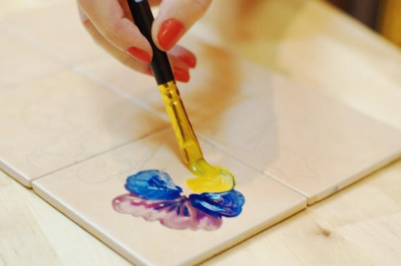 Рисование плоской кистью мастер класс анютины глазки