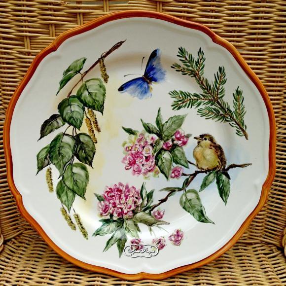 """Тарелка 28 см, """"Птенчик и бабочка  """""""