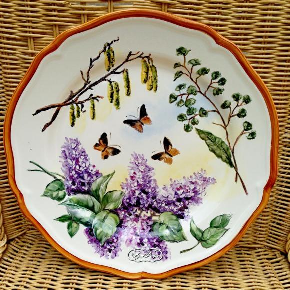 """Тарелка 28 см, """" Сирень и бабочки"""""""