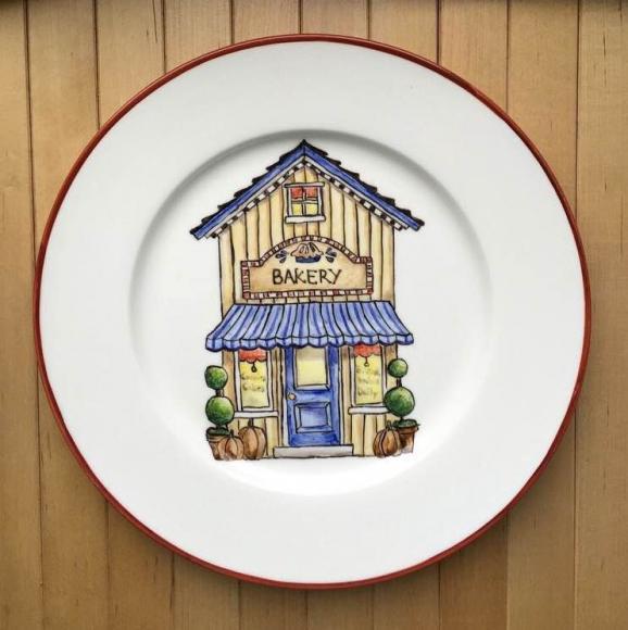"""Тарелка """"Пекарня"""" , 22  см , готовая работа  - 2000 рублей"""