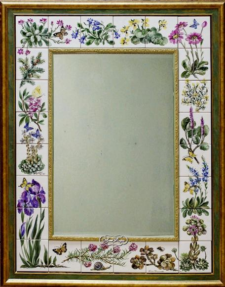 """Зеркало """"Альпинарий"""". 70 х 90 см.Надглазурная роспись на керамической плитке."""